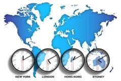 Διαφορές ώρας παγκόσμιων χαρτών Στοκ Φωτογραφία