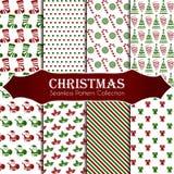 10 διαφορετικά άνευ ραφής σχέδια Χριστουγέννων Ατελείωτη σύσταση για την ταπετσαρία, το υπόβαθρο ιστοσελίδας, το τυλίγοντας έγγρα διανυσματική απεικόνιση