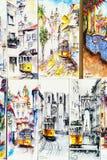 Διαφορετικά έργα ζωγραφικής για την πώληση του ιστορικού τραμ στη στο κέντρο της πόλης πόλη της Λισσαβώνας Στοκ Εικόνες