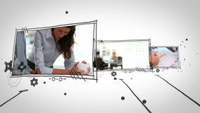 Διαφορετικά βίντεο των επιχειρηματιών στην εργασία απόθεμα βίντεο