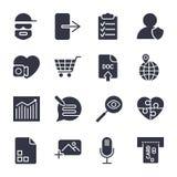 Διαφορετικά διανυσματικά εικονίδια Απλά εικονίδια για τα apps, τα προγράμματα και την περιοχή διανυσματική απεικόνιση