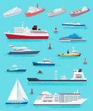 Διαφορετικά είδη μεταφορών νερού διανύσματος σκαφών ελεύθερη απεικόνιση δικαιώματος