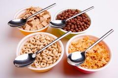 Διαφορετικά είδη νιφάδων στα πιάτα με τα κουτάλια, δαχτυλίδια, νιφάδες, σφαίρες, μαξιλάρια στο άσπρο υπόβαθρο Στοκ Εικόνα
