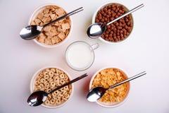 Διαφορετικά είδη νιφάδων στα πιάτα με τα κουτάλια και γάλακτος σε ένα φλυτζάνι, δαχτυλίδια, νιφάδες, σφαίρες, μαξιλάρια στο άσπρο Στοκ Εικόνα