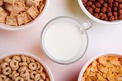 Διαφορετικά είδη νιφάδων στα πιάτα με το γάλα σε ένα φλυτζάνι στη μέση, δαχτυλίδια, νιφάδες, σφαίρες, μαξιλάρια σε ένα άσπρο υπόβ Στοκ Εικόνες