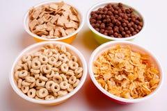 Διαφορετικά είδη νιφάδων στα χρωματισμένα πιάτα, δαχτυλίδια, νιφάδες, σφαίρες, μαξιλάρια στο άσπρο υπόβαθρο Στοκ Εικόνες