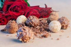 Διαφορετικά είδη καραμελών τρουφών σοκολάτας Στοκ Εικόνες