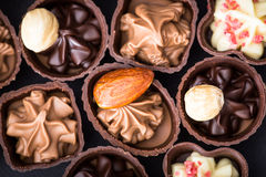 Διαφορετικά είδη κινηματογράφησης σε πρώτο πλάνο σοκολατών διάφορο pralin σοκολάτας Στοκ Εικόνες