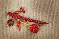 Διαφορετικά είδη ξηρών πιπεριών τσίλι ξηρό κόκκινο πιπεριών τσίλι Καυτά καρυκεύματα στα τρόφιμα Στοκ Φωτογραφία