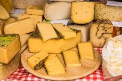 Διαφορετικά είδη τυριού για την πώληση στην αγορά αγροτών ` s στοκ φωτογραφία