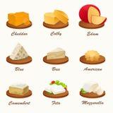 Διαφορετικά είδη τυριού στον τέμνοντα πίνακα επίσης corel σύρετε το διάνυσμα απεικόνισης Στοκ Εικόνα
