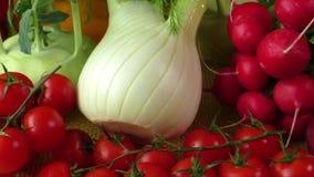 Διαφορετικά είδη των λαχανικών, εκλεκτική εστίαση απόθεμα βίντεο