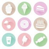 Διαφορετικά εικονίδια γλυκών που τίθενται στο επίπεδο ύφος Στοκ Εικόνες
