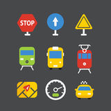 Διαφορετικά εικονίδια μεταφορών που τίθενται με τις στρογγυλευμένες γωνίες Επίπεδο σχέδιο Στοκ Εικόνες