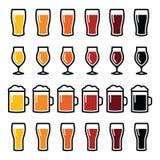Διαφορετικά εικονίδια τύπων γυαλιών μπύρας - ξανθός γερμανικός ζύθος, pilsner, αγγλική μπύρα, μπύρα σίτου, δυνατή μπύρα διανυσματική απεικόνιση