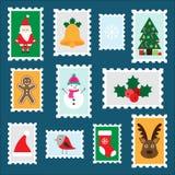 Διαφορετικά ζωηρόχρωμα γραμματόσημα Χριστουγέννων για τα παιδιά, προσχολική δραστηριότητα διασκέδασης για τα παιδιά, επιστολή σε  διανυσματική απεικόνιση