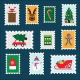 Διαφορετικά ζωηρόχρωμα γραμματόσημα Χριστουγέννων για τα παιδιά, προσχολική δραστηριότητα διασκέδασης για τα παιδιά, επιστολή σε  απεικόνιση αποθεμάτων