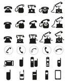 Διαφορετικά διανυσματικά μαύρα τηλεφωνικά εικονίδια που τίθενται στο άσπρο υπόβαθρο Στοκ φωτογραφία με δικαίωμα ελεύθερης χρήσης
