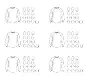 Διαφορετικά διανυσματικά πρότυπα προτύπων μπλουζών, μπροστινή και πίσω άποψη στοκ εικόνα