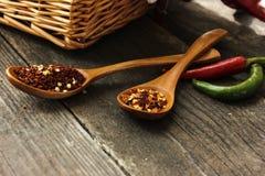 Διαφορετικά καρυκεύματα στον πίνακα σε ένα ξύλινο κουτάλι κόκκινο πιπεριών Στοκ φωτογραφία με δικαίωμα ελεύθερης χρήσης