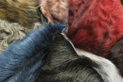 Διαφορετικά κομμάτια των χρωματισμένων δερμάτων της σύστασης προβιών προβάτων της Μποχάρας, υπόβαθρο στοκ εικόνες