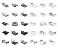 Διαφορετικά κρεβάτια μονο, εικονίδια περιλήψεων στην καθορισμένη συλλογή για το σχέδιο Έπιπλα για το διανυσματικό isometric Ιστό  απεικόνιση αποθεμάτων