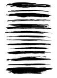 Διαφορετικά κτυπήματα βουρτσών στο άσπρο υπόβαθρο Απομονωμένα αντικείμενα στοιχεία σχεδίου που τί&th διάνυσμα Στοκ Εικόνα