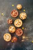 Διαφορετικά μεγέθη του παραδοσιακού επιδορπίου Χριστουγέννων - κομματιάστε τις πίτες Β στοκ εικόνα