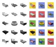 Διαφορετικά μονο, επίπεδα εικονίδια κρεβατιών στην καθορισμένη συλλογή για το σχέδιο Έπιπλα για το διανυσματικό isometric Ιστό απ απεικόνιση αποθεμάτων