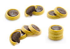 Διαφορετικά μπισκότα συλλογής μπισκότων σοκολάτας στο άσπρο υπόβαθρο Στοκ Φωτογραφίες