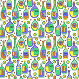 Διαφορετικά μπουκάλια κινούμενων σχεδίων άνευ ραφής διάνυσμα προτύπων Στοκ φωτογραφία με δικαίωμα ελεύθερης χρήσης