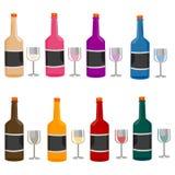 Διαφορετικά μπουκάλι και γυαλί κρασιών απεικόνιση αποθεμάτων