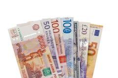 Διαφορετικά νομίσματα εγγράφου από την Ευρώπη στοκ εικόνα