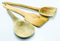 Διαφορετικά ξύλινα εργαλεία κουζινών Στοκ Εικόνες
