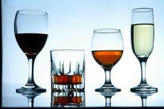 Διαφορετικά οινοπνευματώδη ποτά στο γυαλί και goblets στοκ φωτογραφία