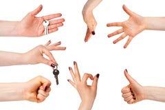 Διαφορετικά σημάδια χεριών που απομονώνονται στο λευκό Στοκ φωτογραφίες με δικαίωμα ελεύθερης χρήσης