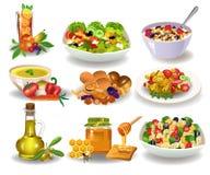 Διαφορετικά υγιή γεύματα για το πρόγευμα, το μεσημεριανό γεύμα ή το γεύμα που απομονώνονται σε ένα άσπρο υπόβαθρο διανυσματική απεικόνιση