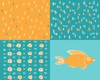 Διαφορετικά υπόβαθρα με τα ψάρια θάλασσας απεικόνιση αποθεμάτων