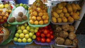 Διαφορετικά φρούτα που συσσωρεύονται σε μια τοπική αγορά στο Μεξικό Στοκ Φωτογραφία