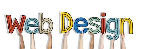 Διαφορετικά χέρια που κρατούν το σχέδιο Ιστού λέξεων Στοκ Φωτογραφίες