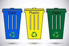 Διαφορετικά χρωματισμένα ανακύκλωσης δοχεία αποβλήτων Διαχωρισμός τύπων αποβλήτων που ανακυκλώνει τη διανυσματική απεικόνιση Πλασ ελεύθερη απεικόνιση δικαιώματος