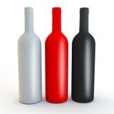 Διαφορετικά χρωματισμένα ματ βότκα, πνεύματα ή μορφές μπουκαλιών κρασιού ελεύθερη απεικόνιση δικαιώματος