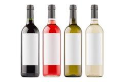 Διαφορετικά χρώματα συλλογής μπουκαλιών κρασιού με τις άσπρες κενές ετικέτες που απομονώνονται στο άσπρο υπόβαθρο, χλεύη επάνω Στοκ εικόνα με δικαίωμα ελεύθερης χρήσης