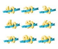 Διαφορετικά ψηφία με τις κορδέλλες διανυσματική απεικόνιση