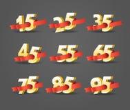 Διαφορετικά ψηφία με τις κορδέλλες απεικόνιση αποθεμάτων