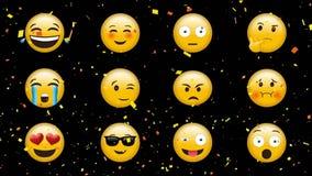 Διαφορετικά emojis με τις διαφορετικές εκφράσεις διανυσματική απεικόνιση