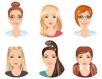 Διαφορετικά hairstyles, θηλυκό Στοκ Εικόνες