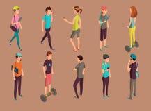 Διαφορετικά hipsters που στέκονται και που χρησιμοποιούν τις συσκευές απεικόνιση αποθεμάτων