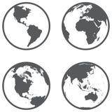 Διαφορετικές ήπειροι σφαιρών σε ένα επίπεδο ύφος απεικόνιση αποθεμάτων