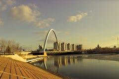 Διαφορετικές απόψεις σε Astana και το ηλιοβασίλεμα Στοκ φωτογραφίες με δικαίωμα ελεύθερης χρήσης
